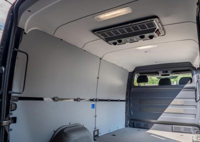 Cicioni removed the factory partition glass to allow driver to easily speak with passengers.