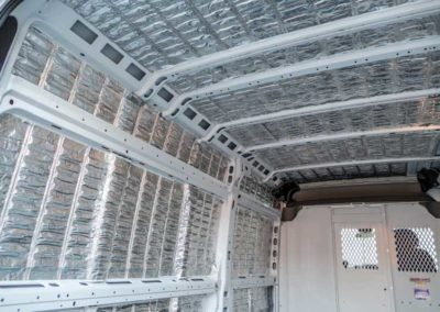 Thermal mass insulation was installed to improve HVAC efficiency by moderating temperature swings.