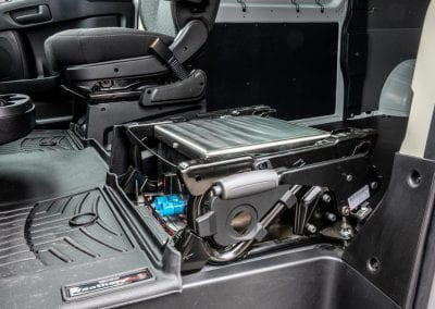 Aux battery kit installation under driver seat.