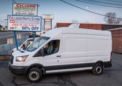 2015 Ford Transit Cargo Van 148 in. WB High Roof - under chassis condenser, HVAC and ventilation fan installation, side panel and headliner package, full insulation, auxiliary battery package