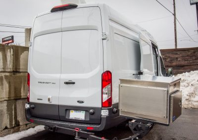 Generator swung out for easy rear access - 2018 Ford Transit 350 high roof cargo van 148 in WB.