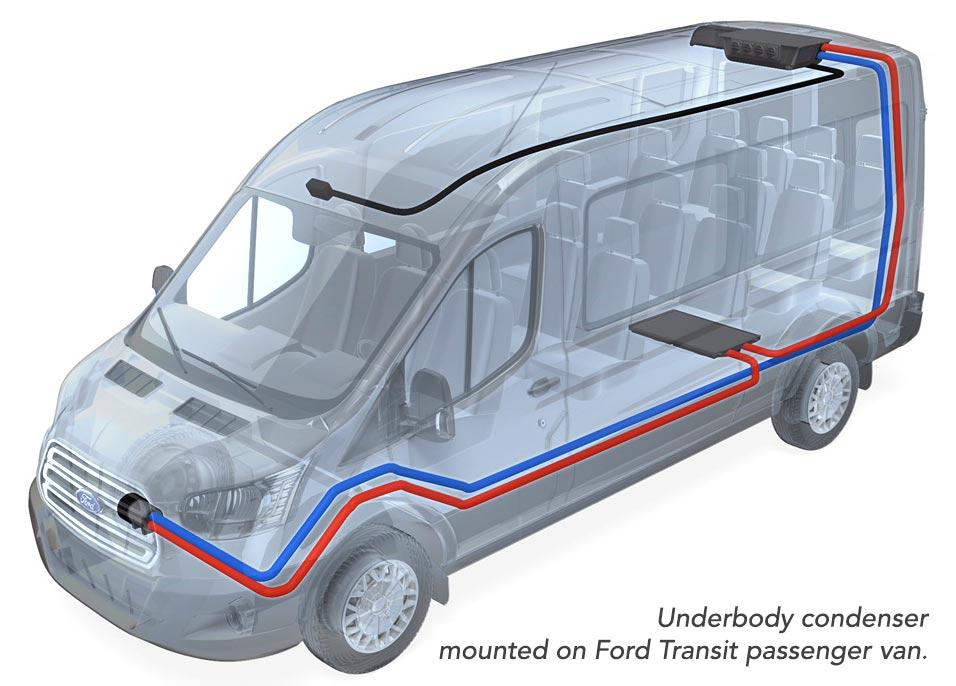 Underbody condenser mounted on Ford Transit passenger van.