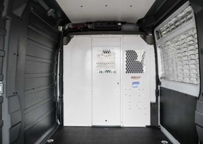 RAM ProMaster partition with perforated openings for easier viewing.