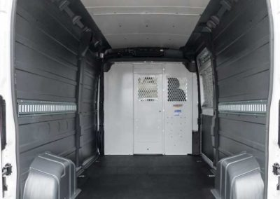 RAM ProMaster with custom installed wall liner and headliner by Cicioni.