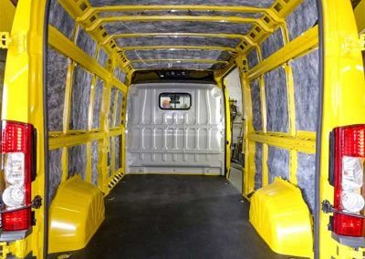 Insulation installed in a PennDOT RAM ProMaster.