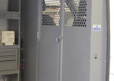 Photo of a Sprinter partition with see-through perforations.